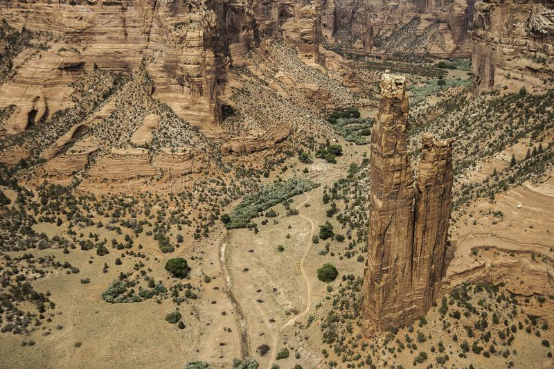 Spider Rock - Chelly Canyon. View of the Spider Rock in the Canyon de Chelly National Monument - horizontal royalty free stock photos