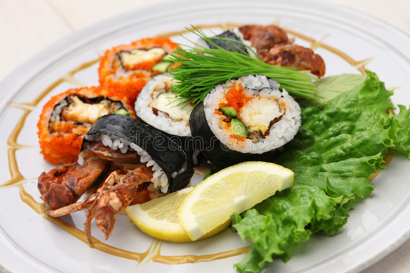 Spider roll sushi stock image