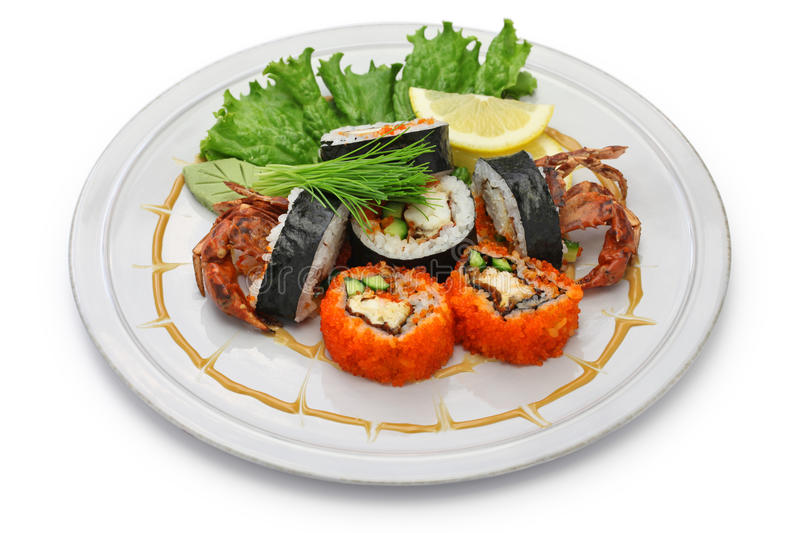 Spider roll sushi royalty free stock image