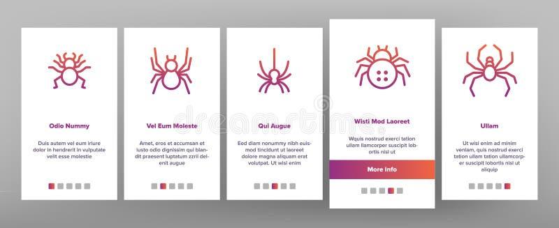 Spider Silhouette Onboard Icons Set Vector lizenzfreie abbildung
