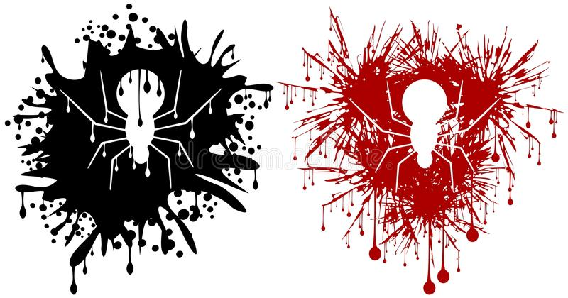 Spider in spot. Illustration representing a spider in spot, in two version stock illustration