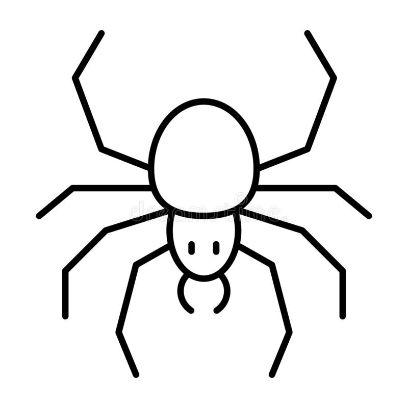 Spider thin line icon. Arachnid vector illustration isolated on white. Insect outline style design, designed for web and royalty free illustration