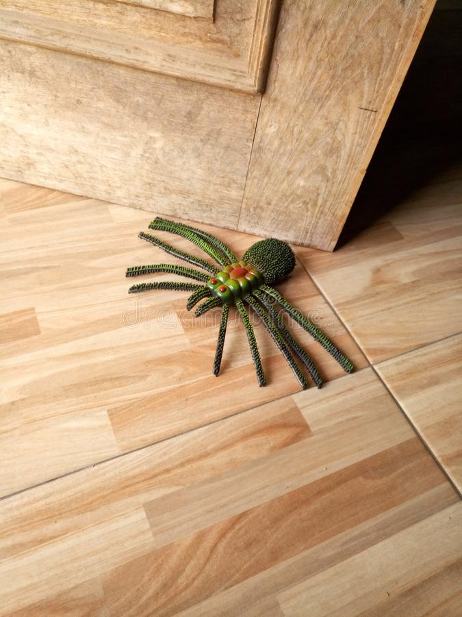 Spider toy in front door royalty free stock photo