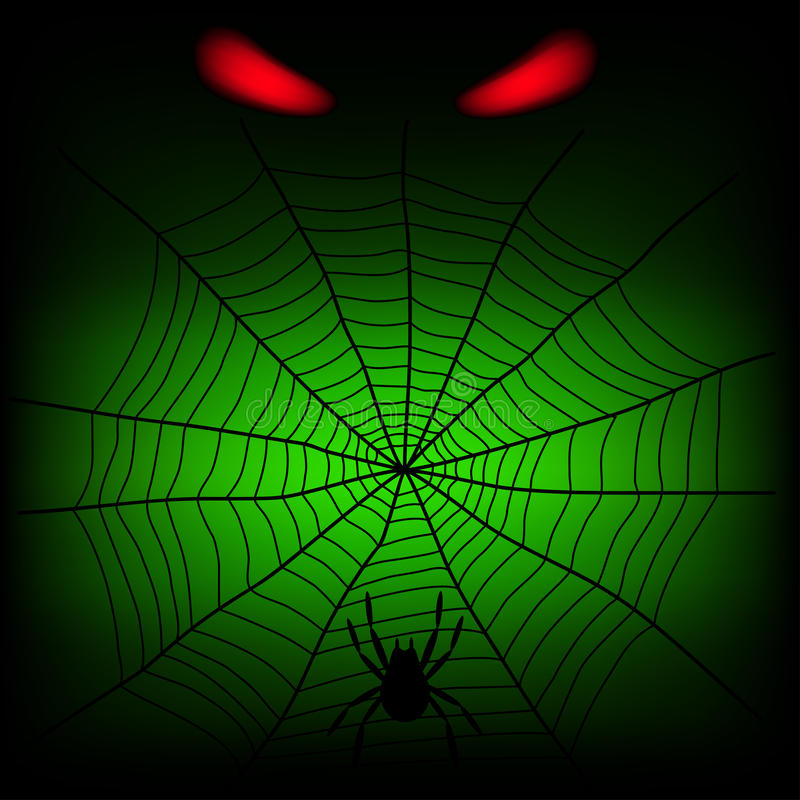 Spider web. And red divil eye on the dark background vector illustration