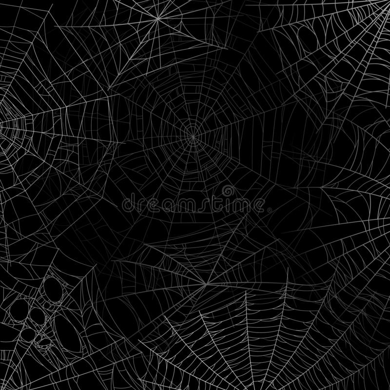 Spider web background. Spooky cobweb for halloween, black grunge poster with spider webs silhouette texture. Scary party stock illustration