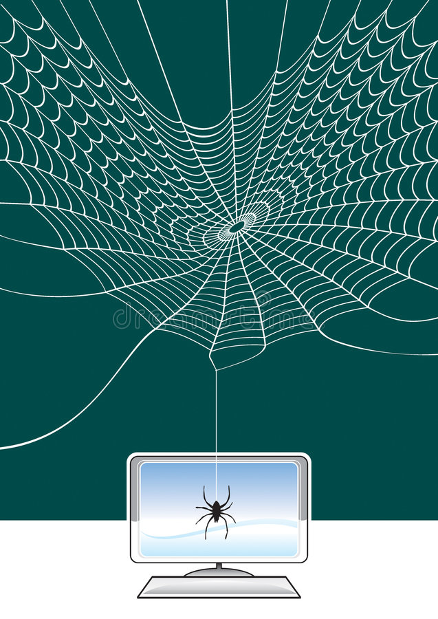 Spider web and connetion. Internet concept from spider web and connection vector illustration