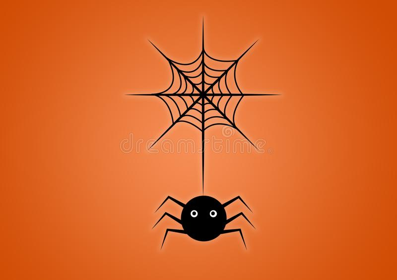 Spider on web digitally illustrated on orange background. For Halloween use as wallpaper royalty free illustration