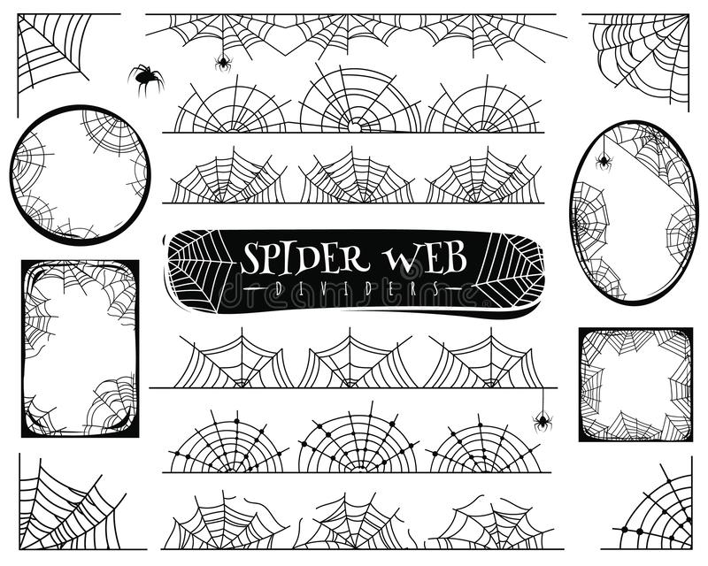 Spider web dividers. Halloween spiderwebs with spiders, cobweb frame and corners. Gossamer borders for banner vector set. Spider web dividers. Halloween stock illustration
