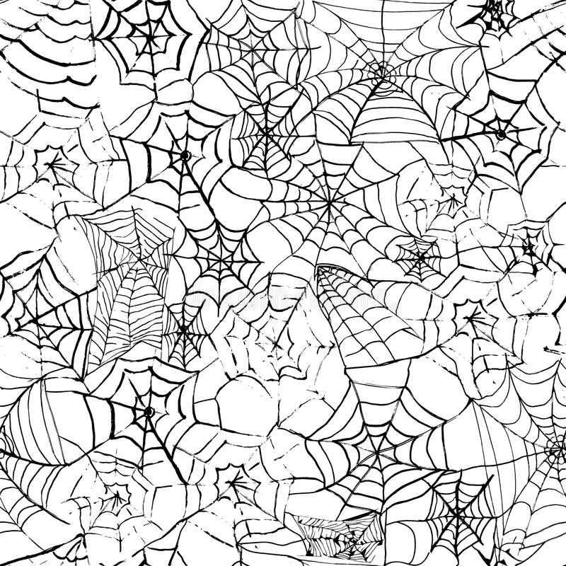 Spider web hand drawn grunge seamless pattern for halloween party background. Horror style stock illustration