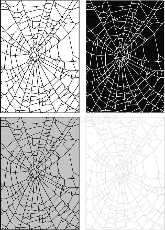 Spider web or hole in the glass royalty free illustration