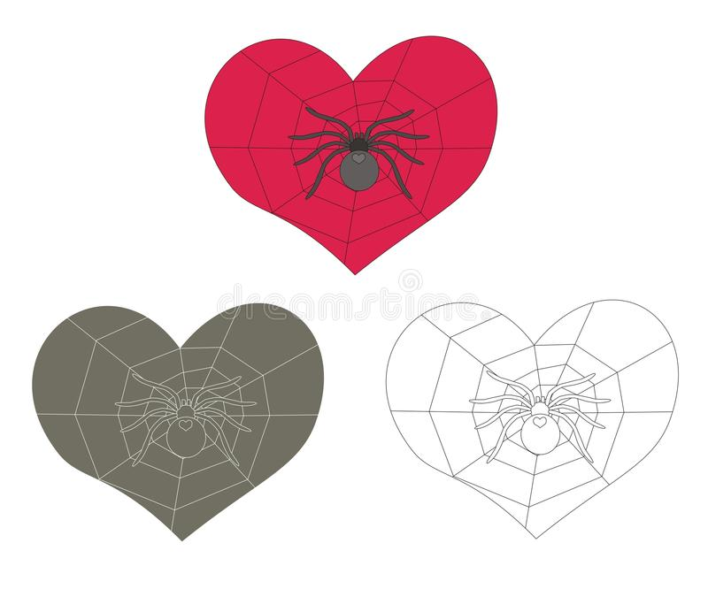 Spider And Web Inside Heart Royalty Free Stock Image