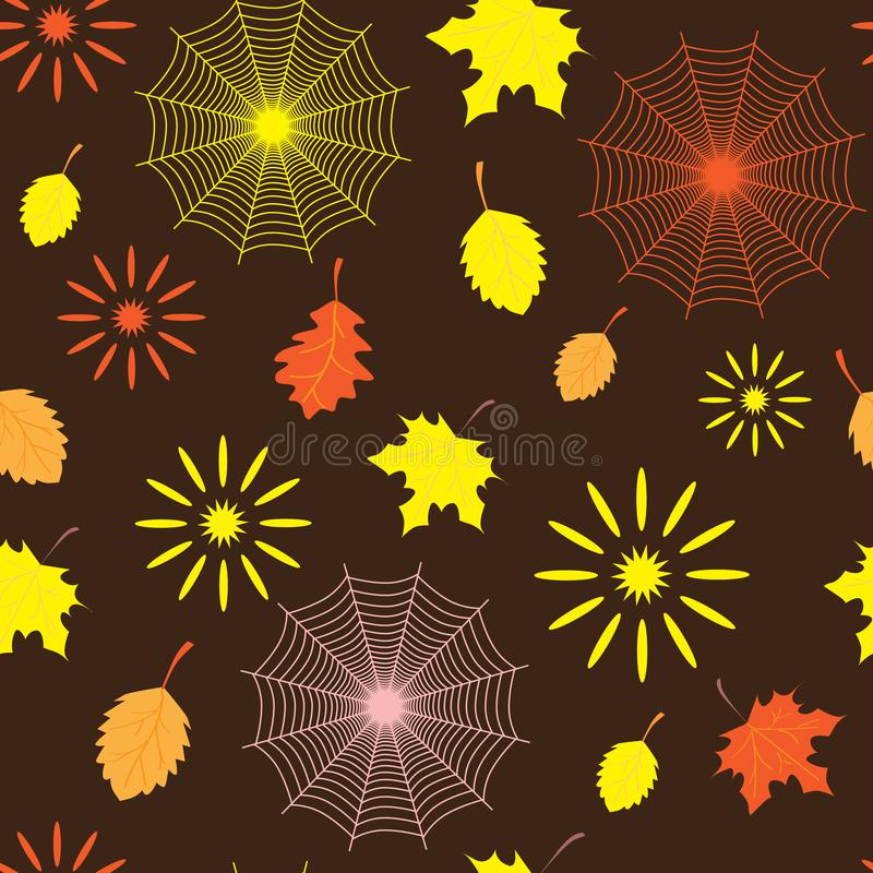 Spider web, leaves and sun in autumn forest, seamless autumn pattern royalty free stock photography