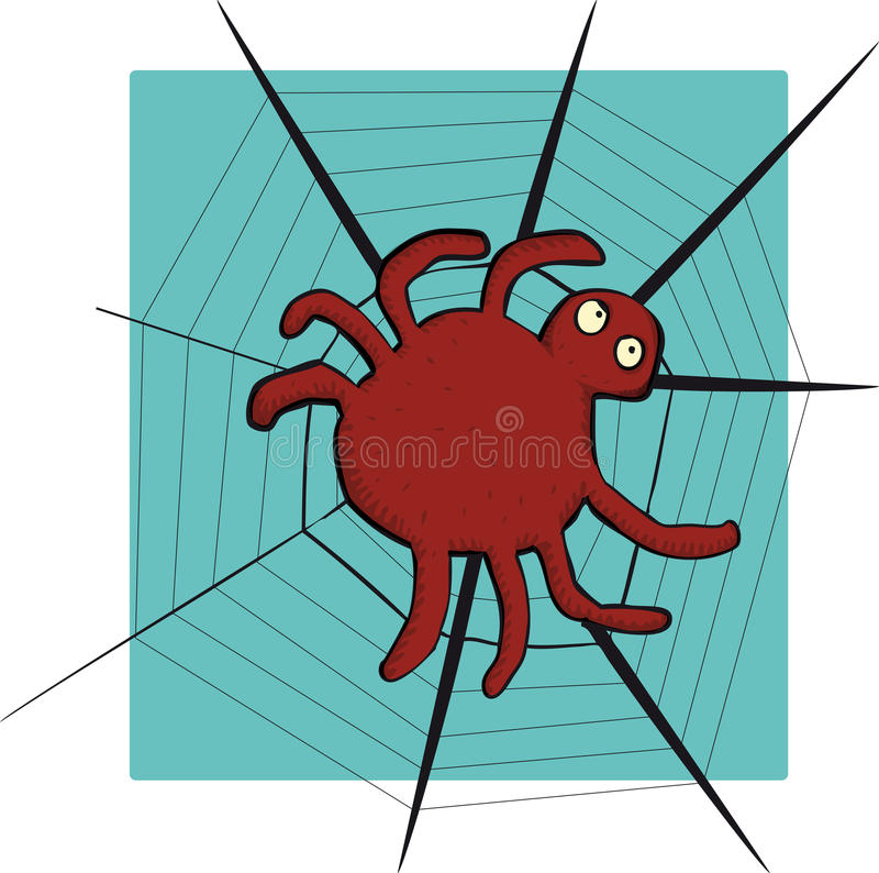 Friendly Spider With Round Body And Long Thin Legs Stock