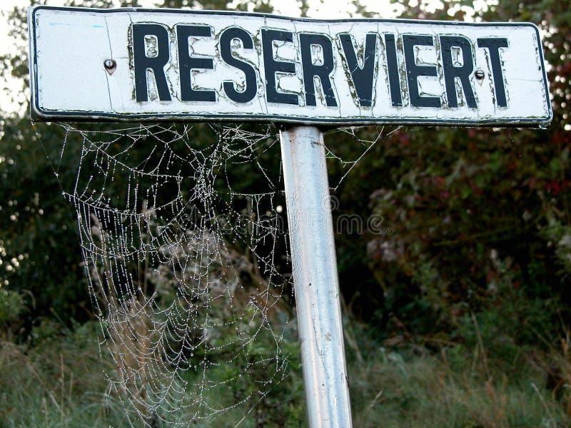 Download Spider Web On Reserved Sign Stock Image - Image: 6571577