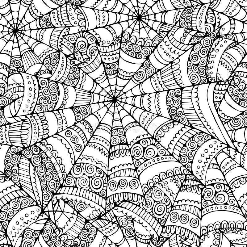 Spider web seamless pattern stock illustration
