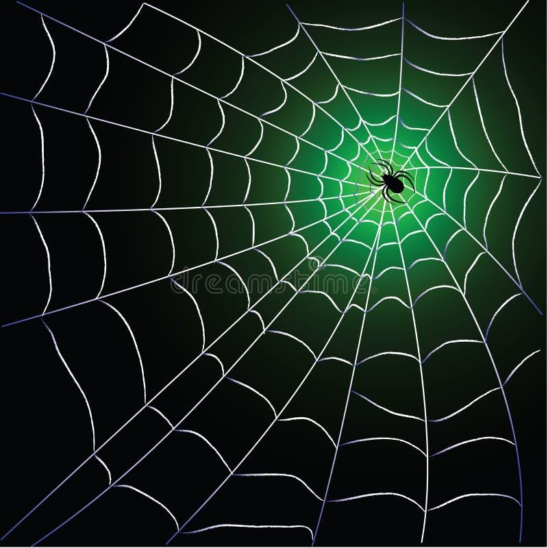 Spider web with spider. Over blackgreen background design stock illustration
