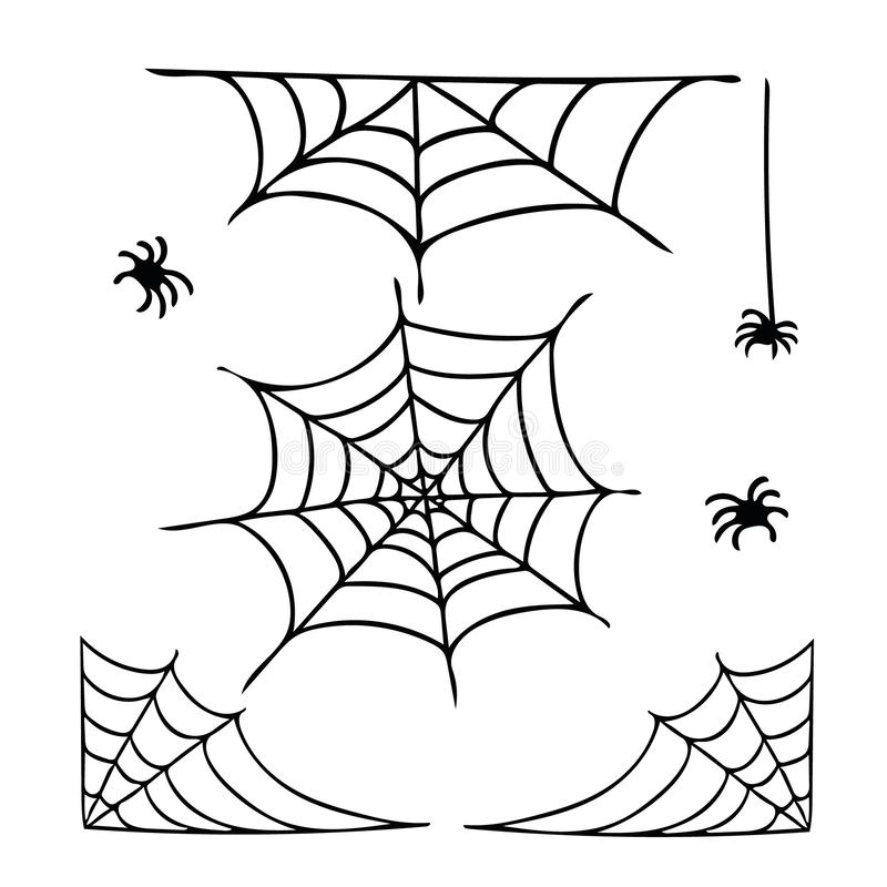 Spider web and spiders set of elements in hand drawn style.  graphic simple doodle liner style vector illustration