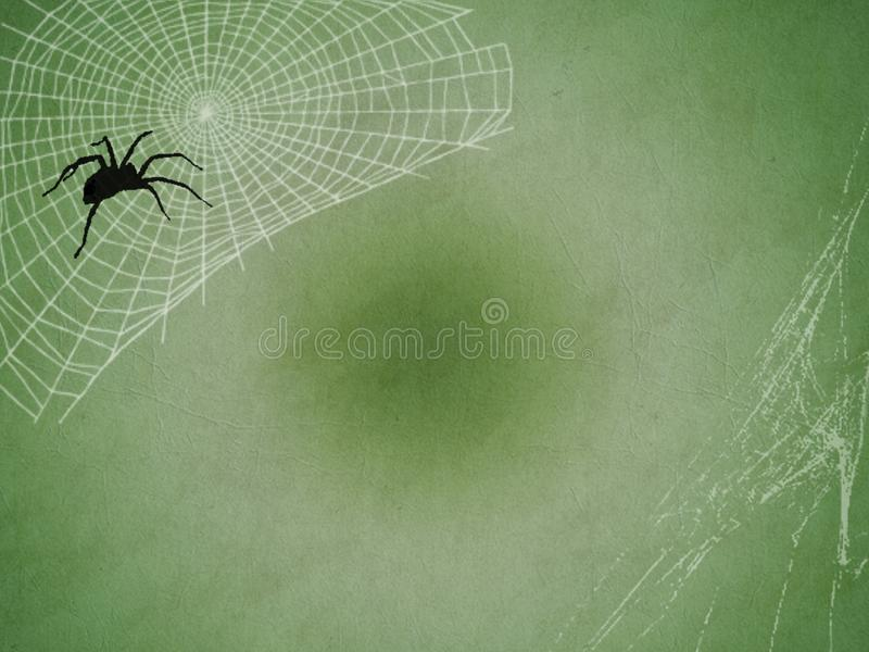 Spider and web texture background. Black spider and white web texture on green vintage background. Halloween. For scrapbook work and designer project stock image