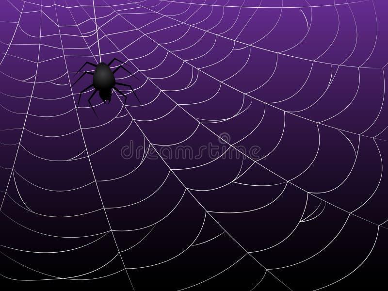 Spider Webs on Purple Background. Black spider on spider webs and purple-black gradient background vector illustration