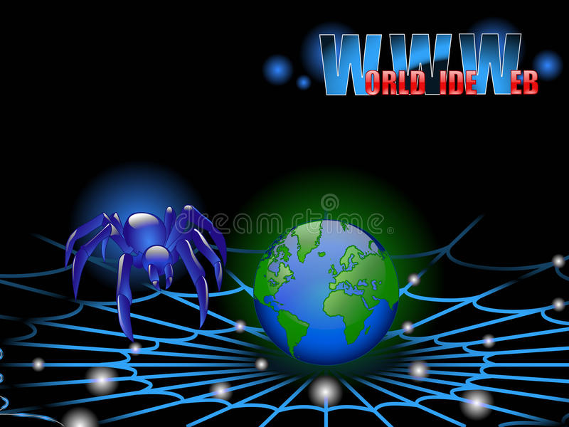 Spider of the World wide web. The spider of the World wide web attacks the Earth royalty free illustration