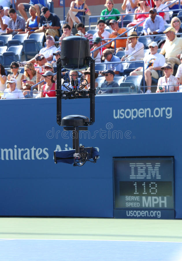 Spidercam aerial camera system used for broadcast from Arthur Ashe Stadium at US Open 2013