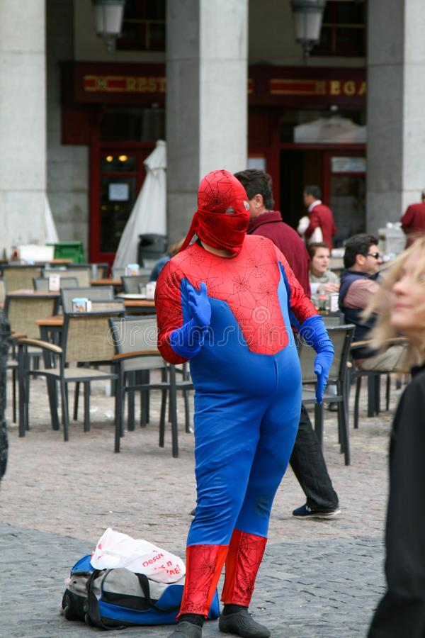 Spiderman costume stock images