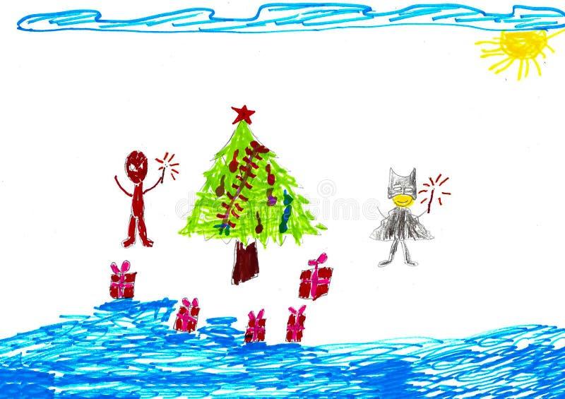 Spiderman e Batman vicino all'albero di Natale con i presente, disegno del bambino royalty illustrazione gratis
