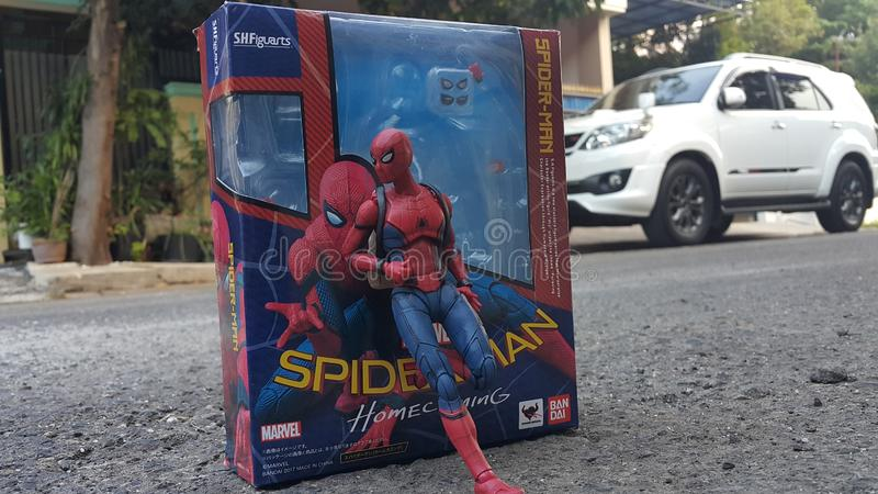 Spiderman homecoming kostuum stock fotografie