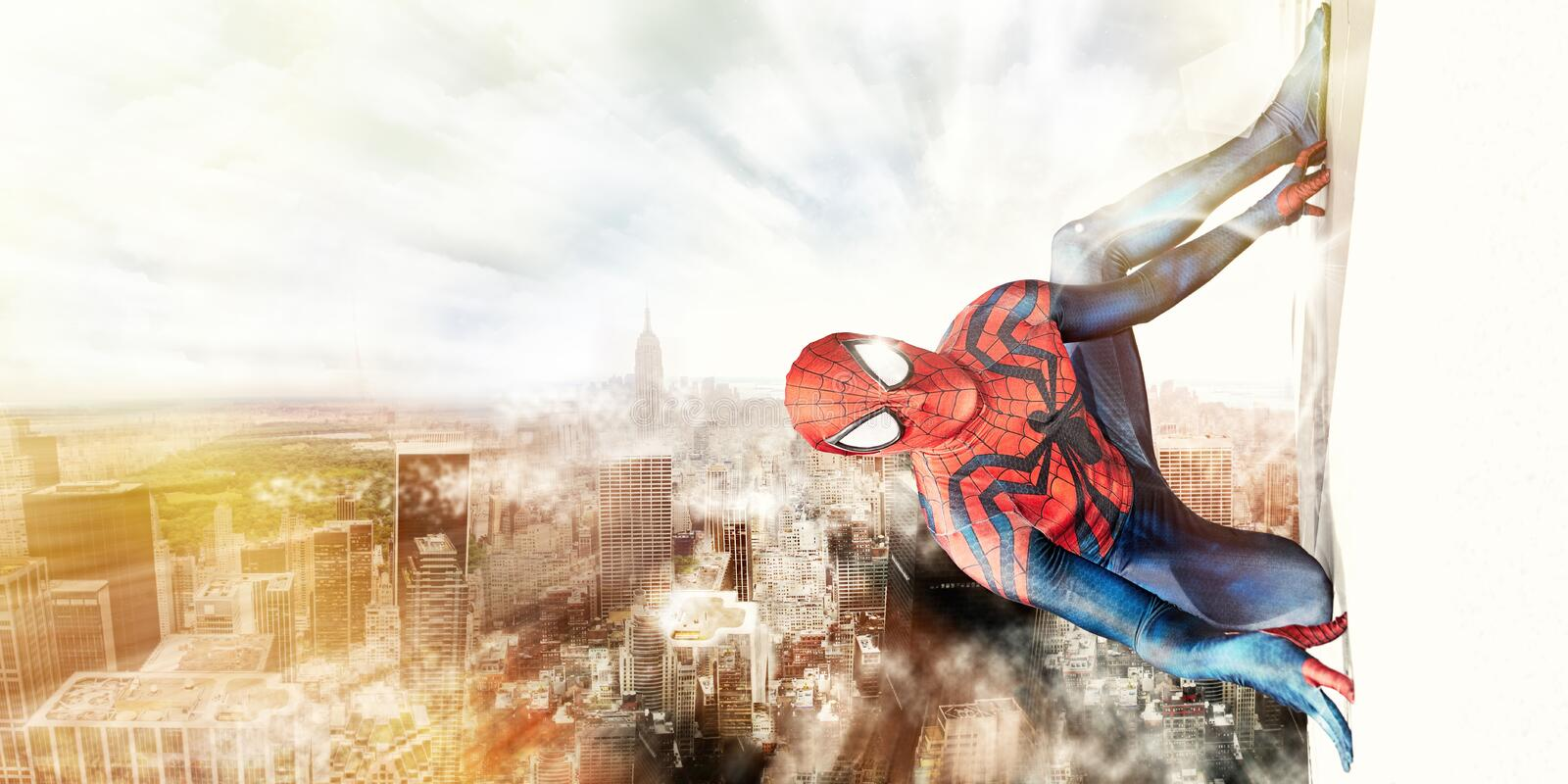 Spiderman and New York City stock photos