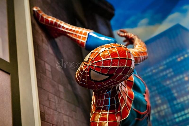 Spiderman-Wundercomics in Museum Madame Tussauds Wax in Amsterdam, die Niederlande lizenzfreie stockfotos