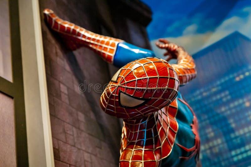 Spidermanen förundra sig komiker i museum för madam Tussauds Wax i Amsterdam, Nederländerna royaltyfria foton