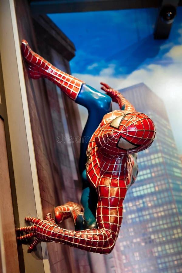 Spidermanen förundra sig komiker i museum för madam Tussauds Wax i Amsterdam, Nederländerna royaltyfri fotografi