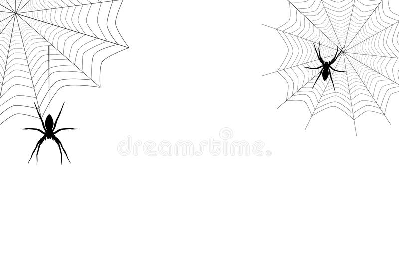 Spiders black silhouette hanging on web, vector eps 10. Spiders black silhouette hanging on corner web isolated on white background. Spooky insect drawing stock illustration