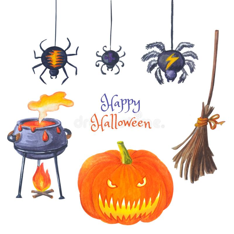 Spiders, pumpkin, cauldron with potion, broomstick  for Happy hallowen. Watercolor set of halloween bright elements.  Hand drawn illustrations isolated on white stock photo