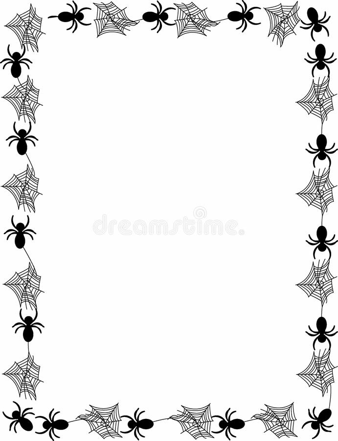 Spiders and spider webs border with vector version as well. Border of spiders and webs available in vector versions as well royalty free illustration