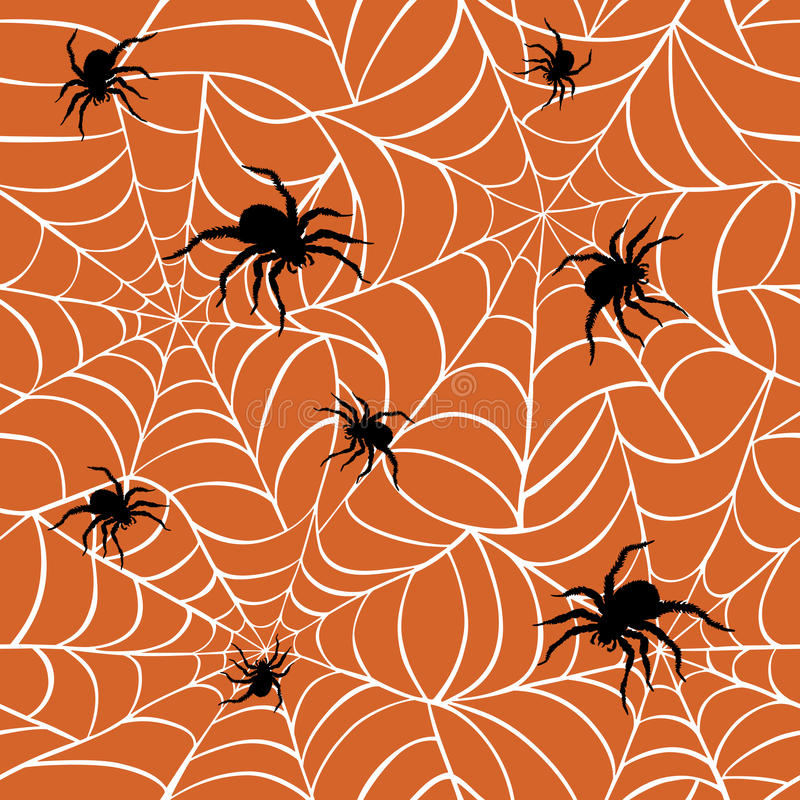 Spiders on Webs. Seamless pattern on orange background repeats seamlessly royalty free illustration