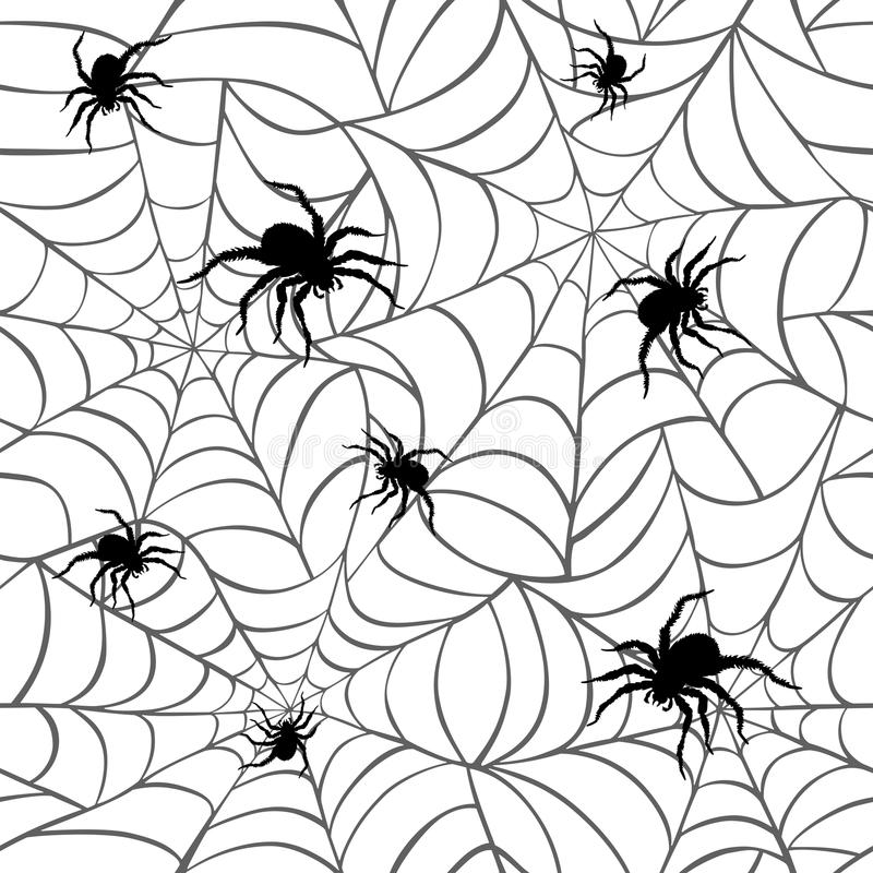Spiders on Webs. Seamless pattern on white background repeats seamlessly royalty free illustration