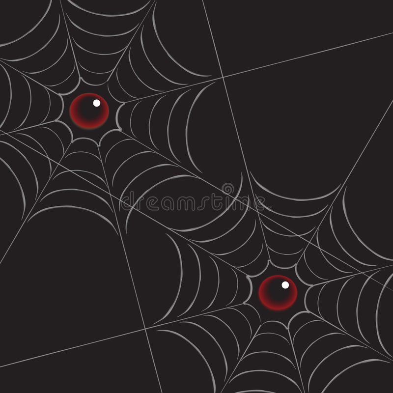 Spiderweb avec des yeux sur le noir photos stock