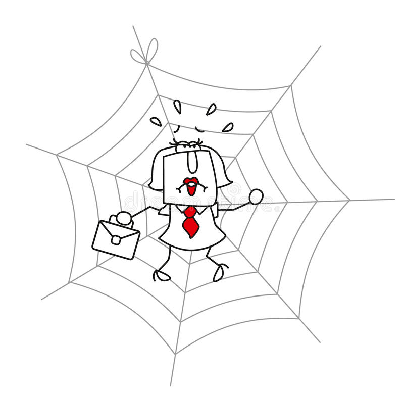Spiderweb and the businesswoman royalty free stock photos