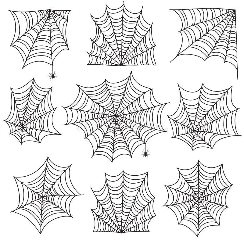 spiderweb Cantos assustadores da teia de aranha e da Web com aranha Ícones do vetor de Dia das Bruxas isolados no fundo branco ilustração stock