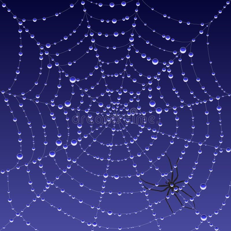 Spiderweb com orvalho ilustração do vetor