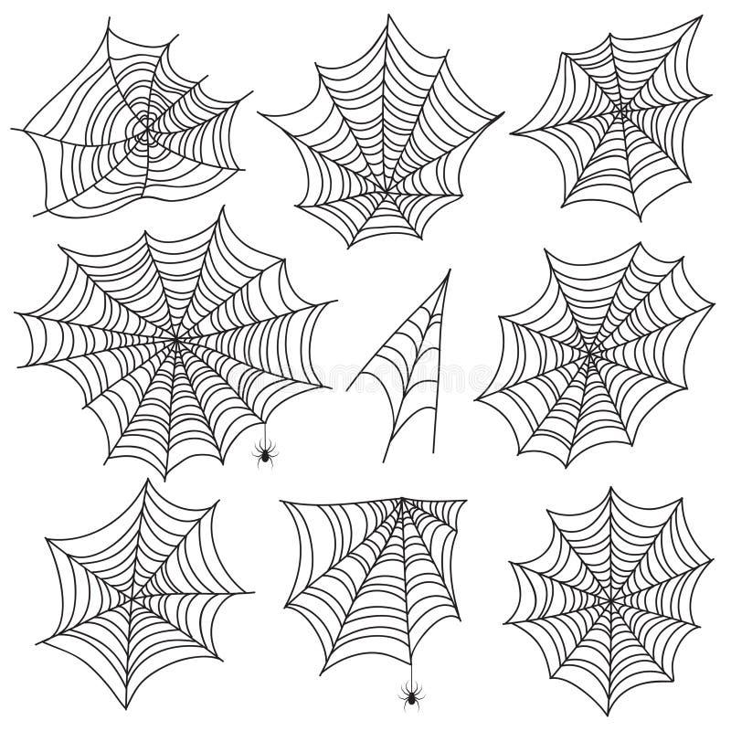 Spiderweb de Halloween Siluetas negras de la telaraña y de la araña Gráficos de vector asustadizos del web aislados en el fondo b ilustración del vector