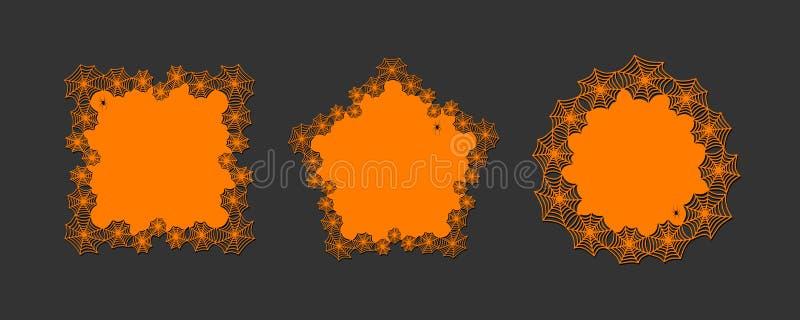 Spiderweb del tema de Halloween del papel del lasercut del tapetito del cordón y tapetito redondos de la bandera del sistema del  ilustración del vector