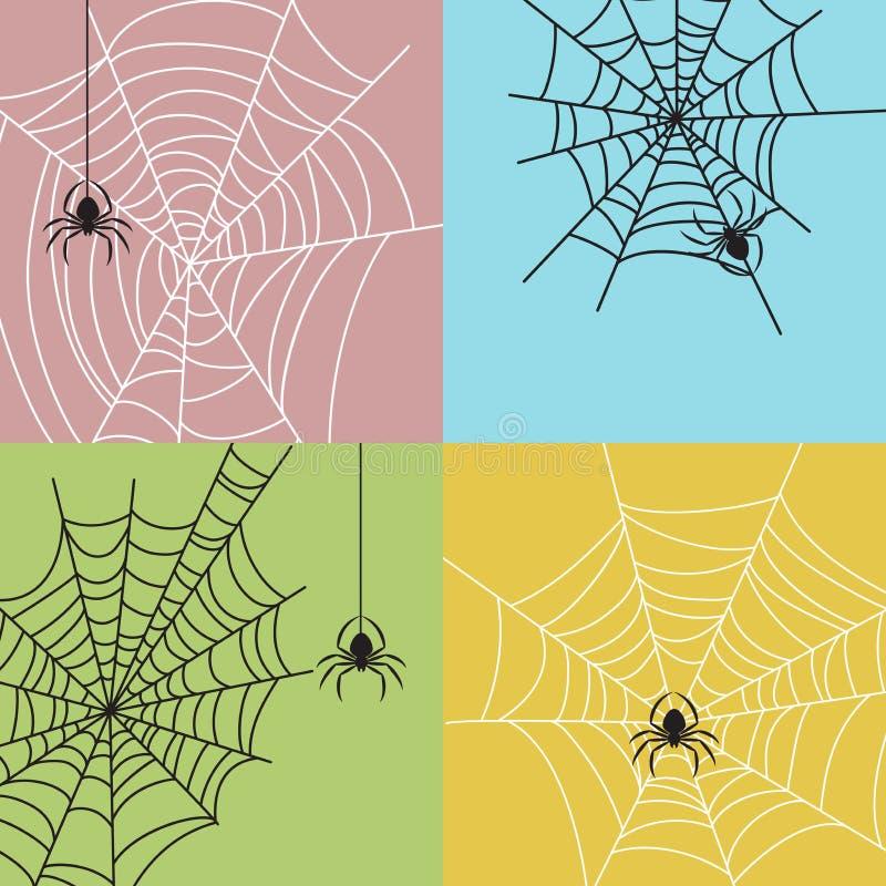 Spiderweb mit den Spinnen eingestellt Bunte Hintergründe Form von Insekten Halloween-Parteigestaltungselemente stock abbildung