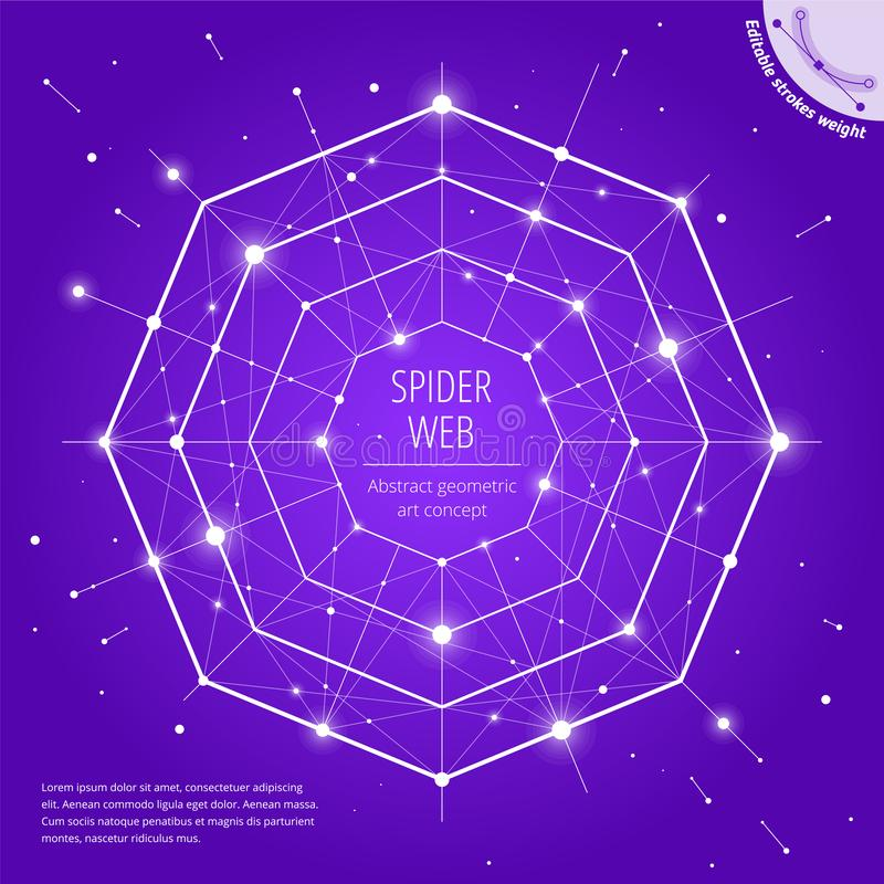 The spiderweb and network geometric art concept vector illustration
