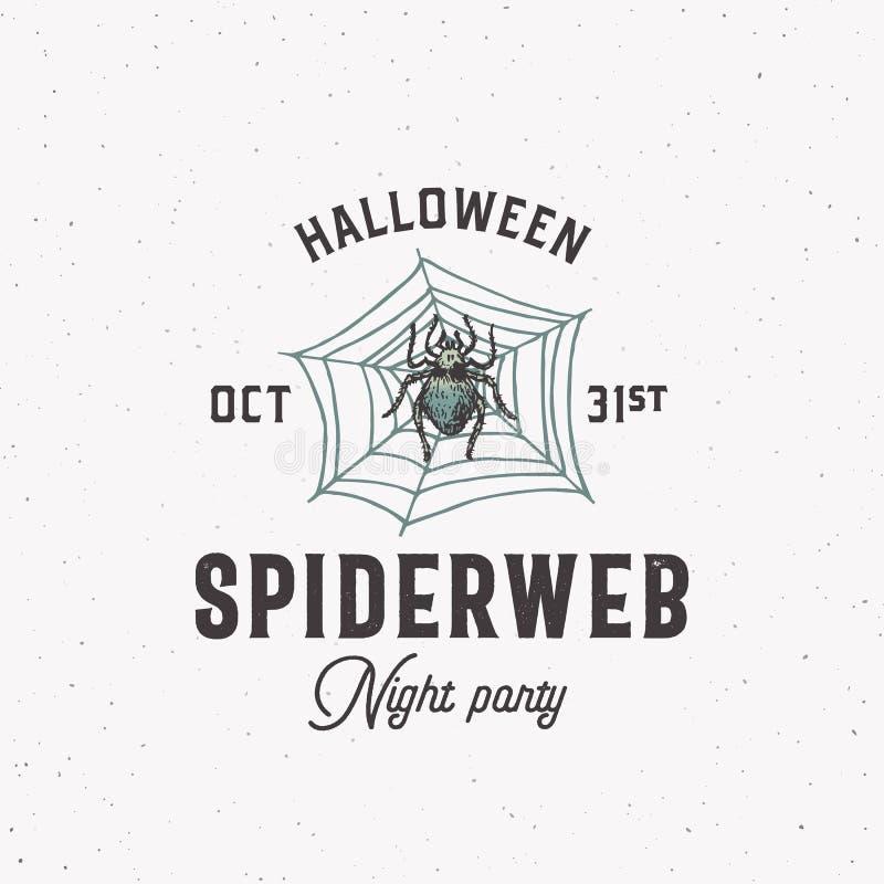 Spiderweb Night Party Vintage Style Logotipo de Halloween ou modelo de etiqueta Símbolo de Aranha Desenhada à Mão e Esquema da We ilustração do vetor