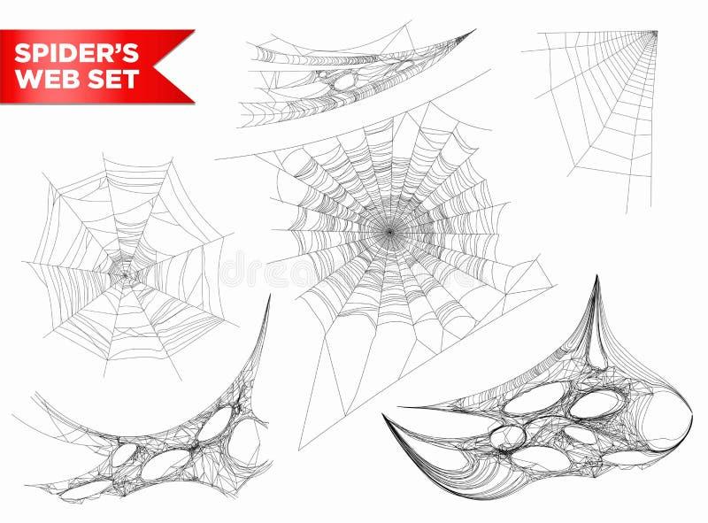 Spiderweb ou a teia de aranha 3D da Web de aranha dão forma a ícones isolados vecto ilustração royalty free