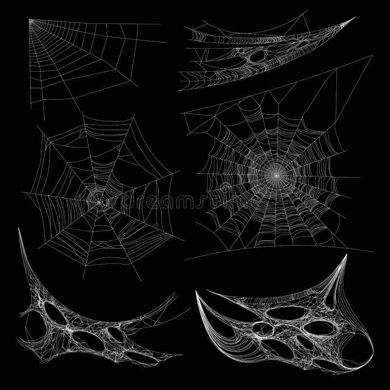 Spiderweb ou a teia de aranha da Web de aranha no vetor do canto da parede isolaram ícones ilustração royalty free