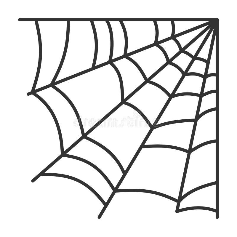 Spiderweb sieci czerni linii pajęczyny wektoru prosta ikona ilustracji