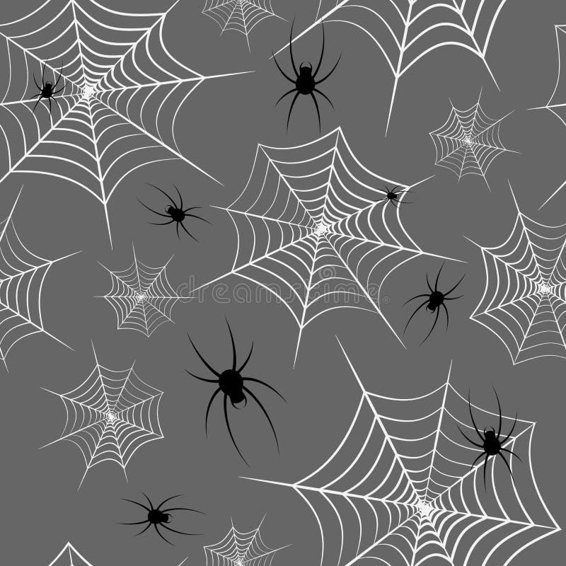 Spiderweb y arañas en un fondo gris tema de Halloween Patrón sin problemas Diseño creativo fondo de sitios web fondos de pantal ilustración del vector